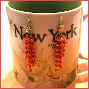 Coral Bead Tassel Gold Earrings